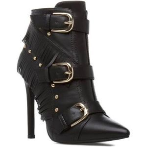 Black Leather Booties with Fringes